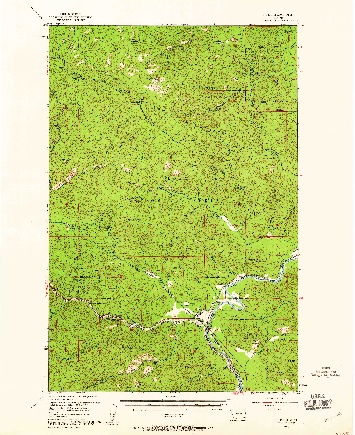 USGS 1:62500-SCALE QUADRANGLE FOR ST REGIS, MT 1956
