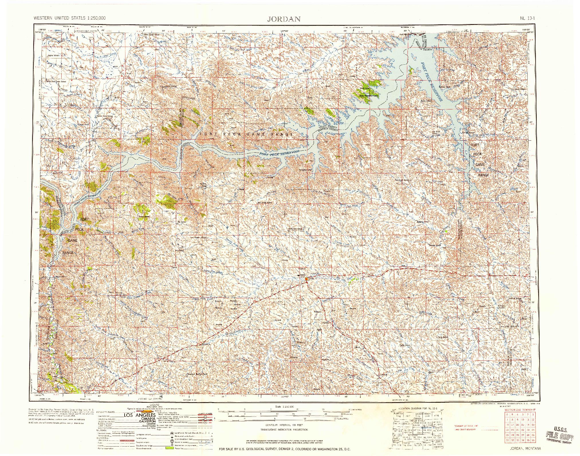 USGS 1:250000-SCALE QUADRANGLE FOR JORDAN, MT 1958