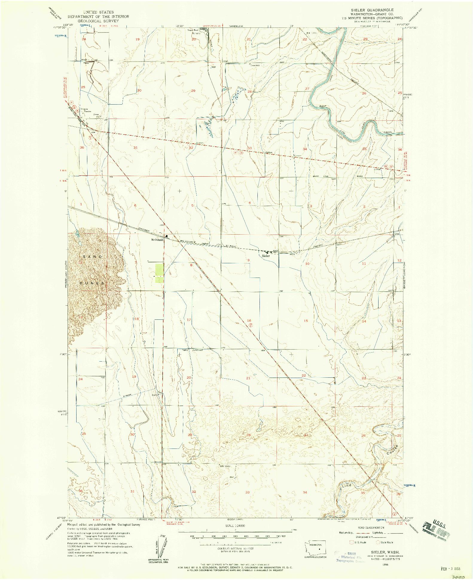 USGS 1:24000-SCALE QUADRANGLE FOR SIELER, WA 1956