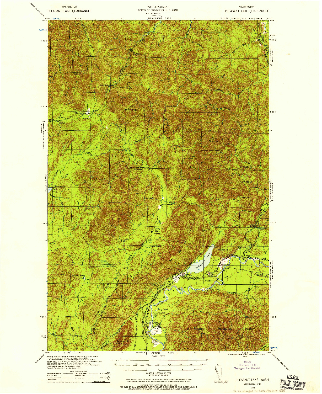 USGS 1:62500-SCALE QUADRANGLE FOR LAKE PLEASANT, WA 1935