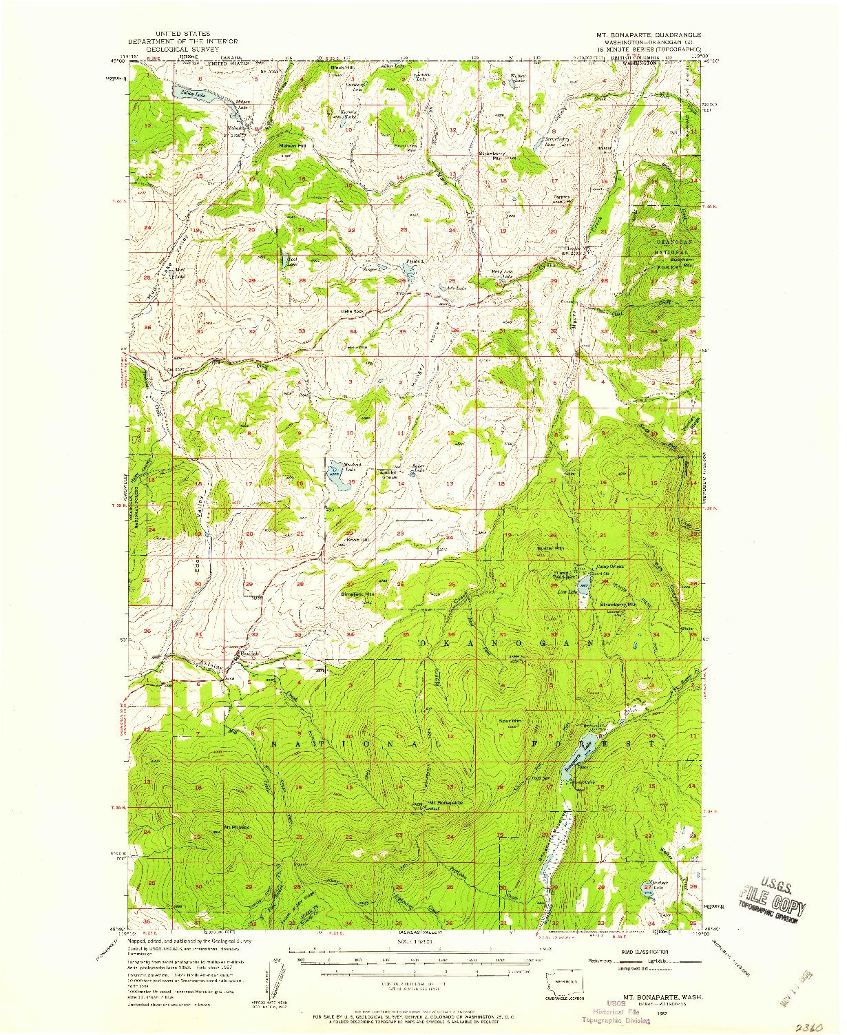 USGS 1:62500-SCALE QUADRANGLE FOR MT. BONAPARTE, WA 1957