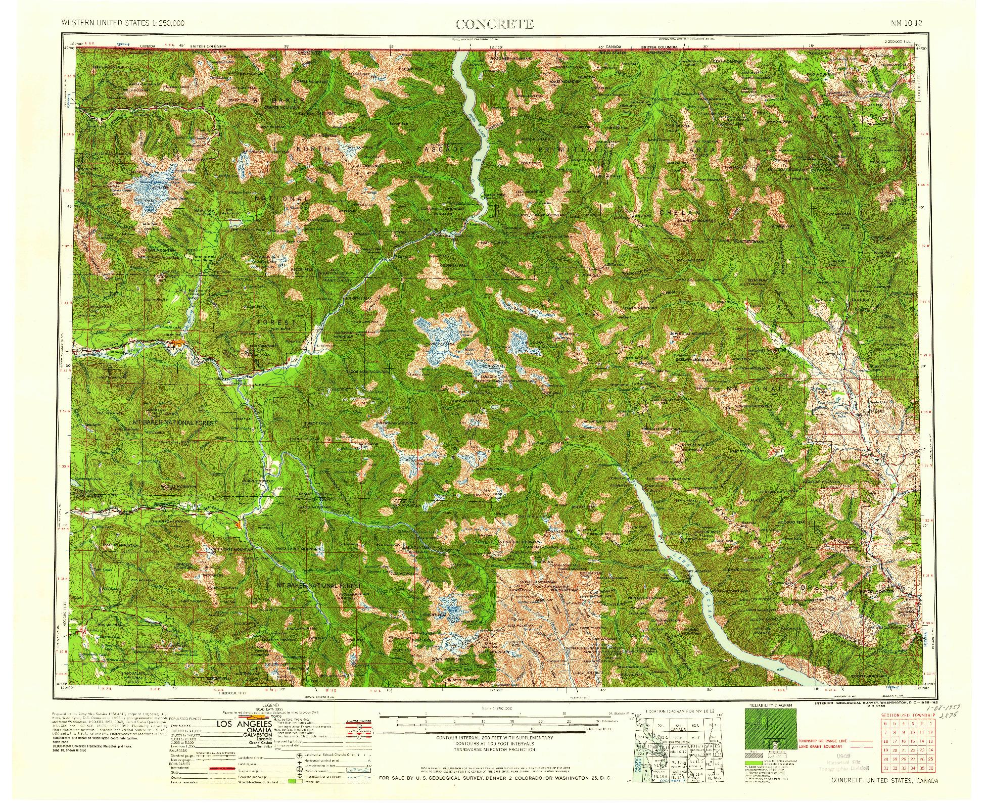 USGS 1:250000-SCALE QUADRANGLE FOR CONCRETE, WA 1958