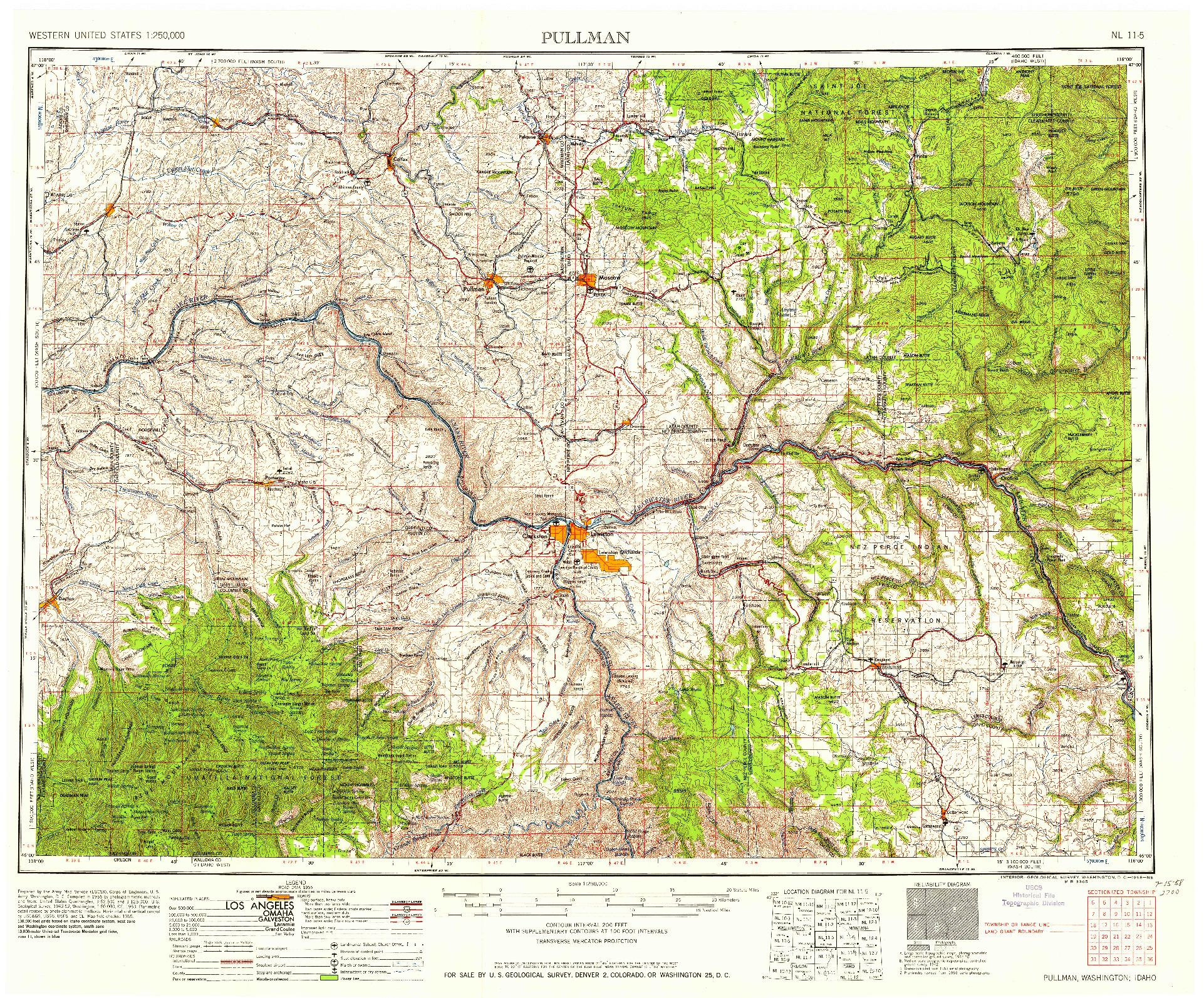 USGS 1:250000-SCALE QUADRANGLE FOR PULLMAN, WA 1958