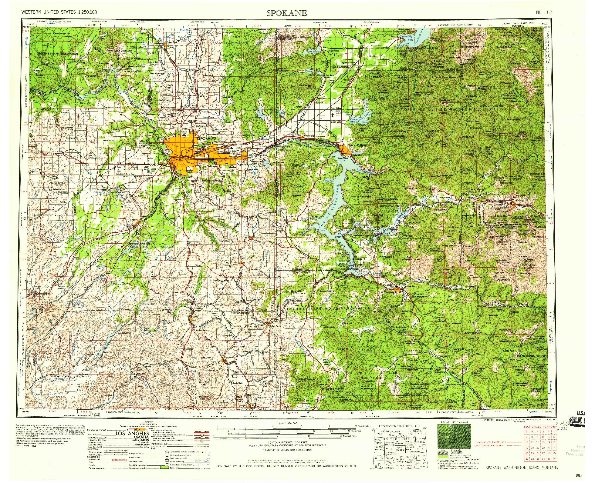 USGS 1:250000-SCALE QUADRANGLE FOR SPOKANE, WA 1958