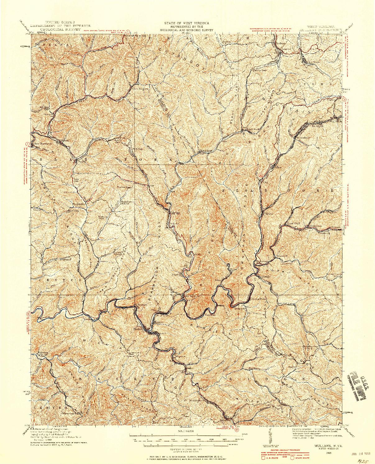 USGS 1:62500-SCALE QUADRANGLE FOR MULLENS, WV 1925