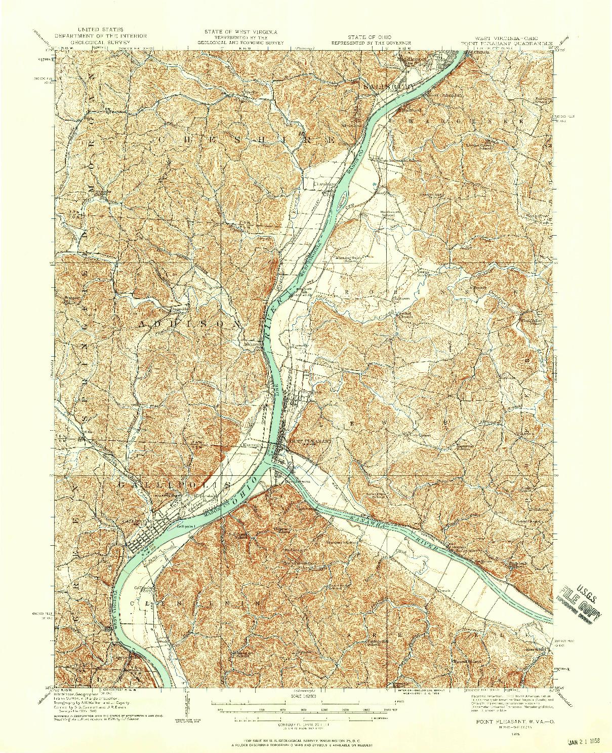 USGS 1:62500-SCALE QUADRANGLE FOR POINT PLEASANT, WV 1926