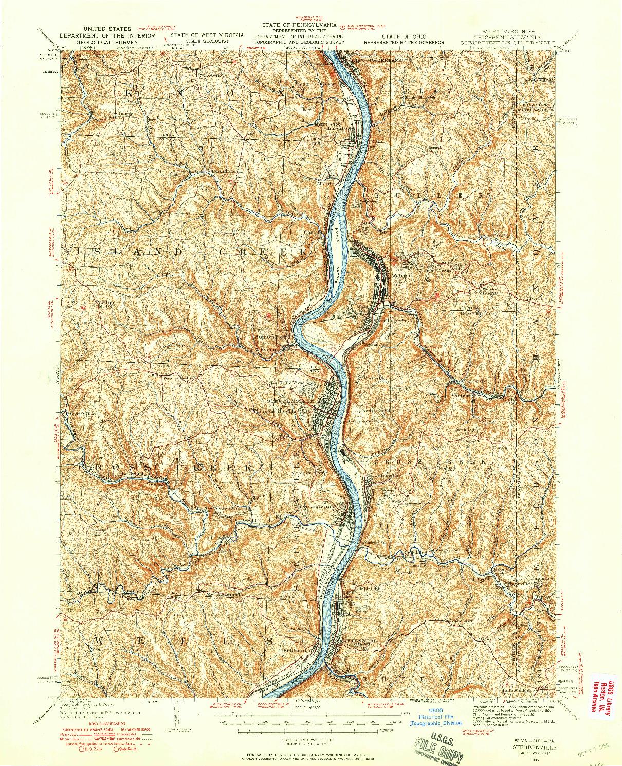 USGS 1:62500-SCALE QUADRANGLE FOR STEUBENVILLE, WV 1935