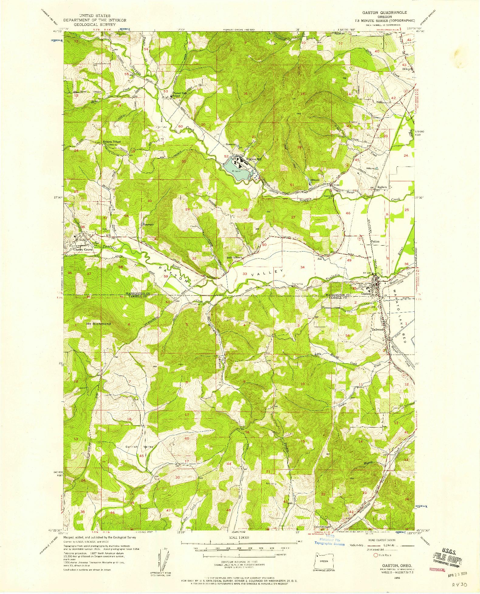 USGS 1:24000-SCALE QUADRANGLE FOR GASTON, OR 1956
