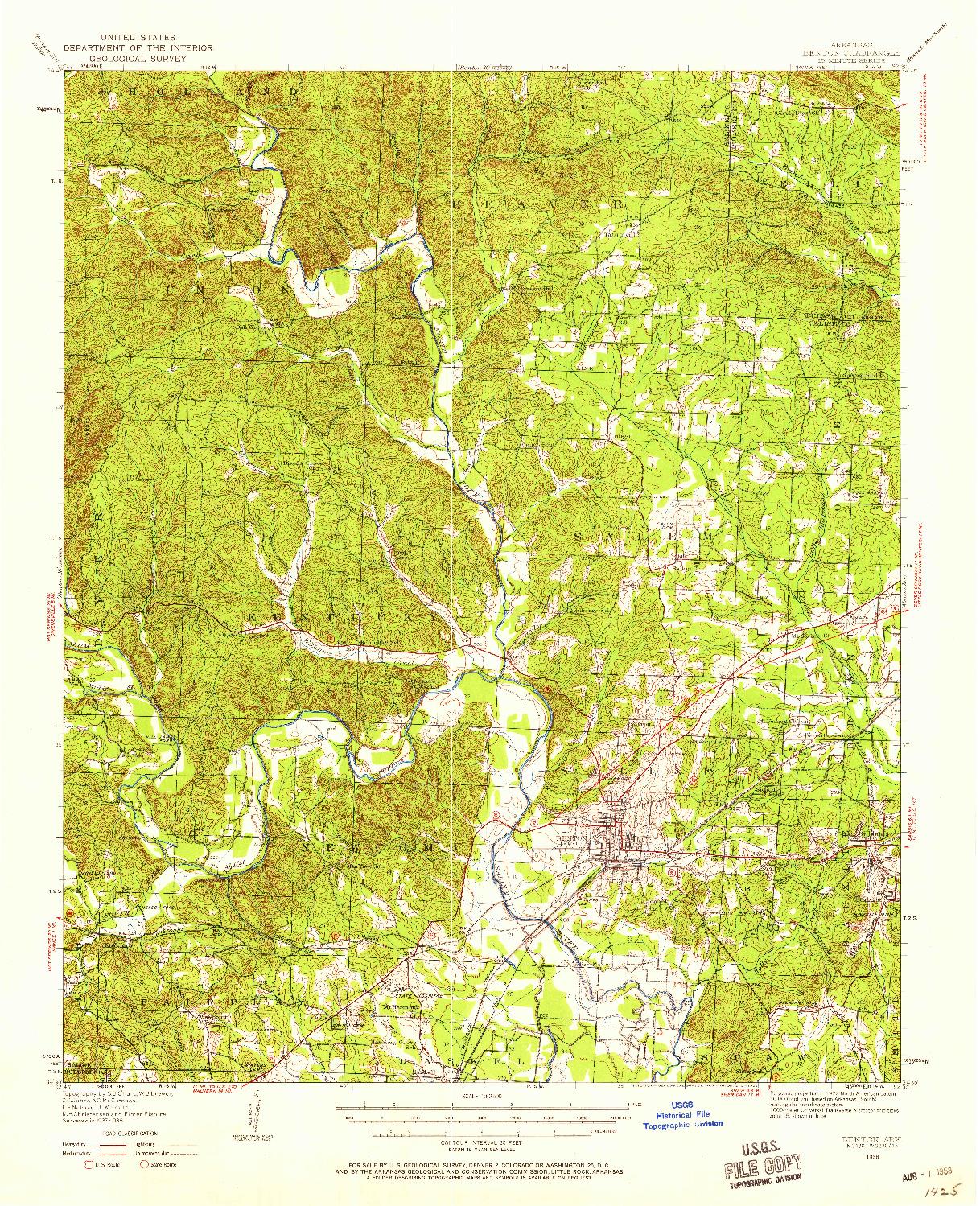 USGS 1:62500-SCALE QUADRANGLE FOR BENTON, AR 1938