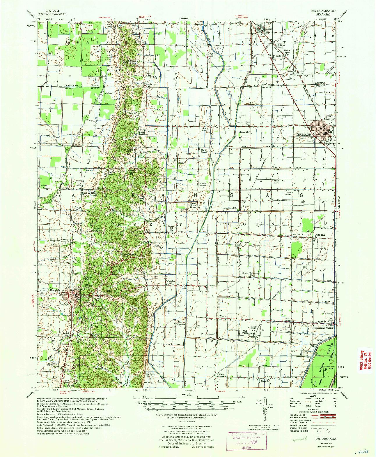 USGS 1:62500-SCALE QUADRANGLE FOR DEE, AR 1958