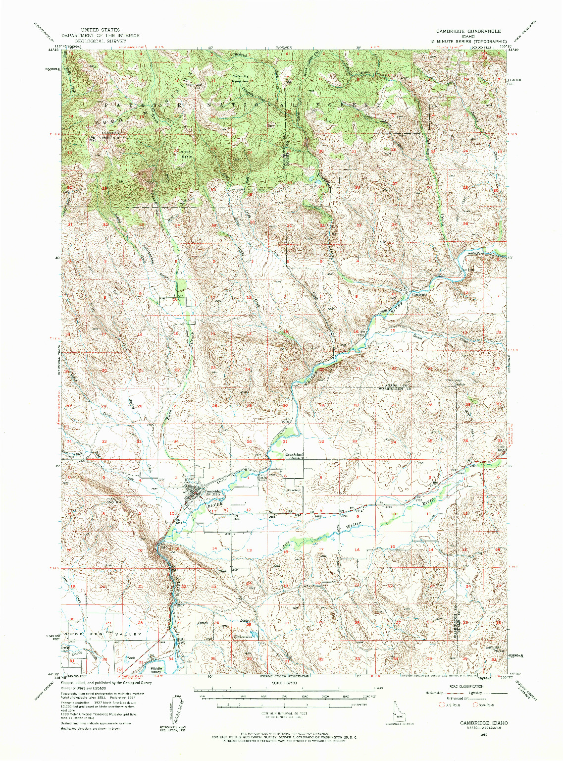 USGS 1:62500-SCALE QUADRANGLE FOR CAMBRIDGE, ID 1957
