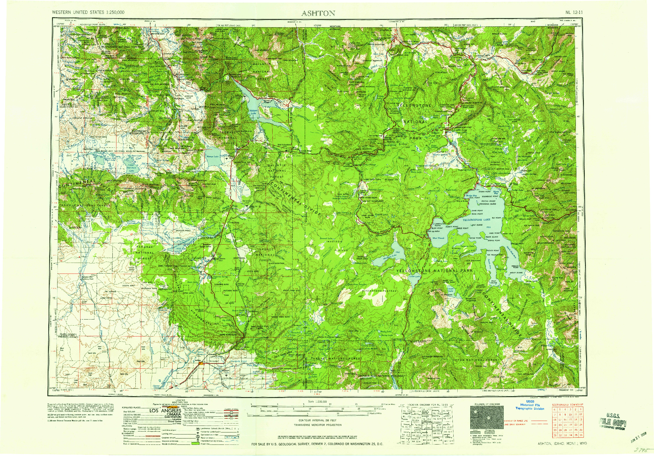 USGS 1:250000-SCALE QUADRANGLE FOR ASHTON, ID 1958