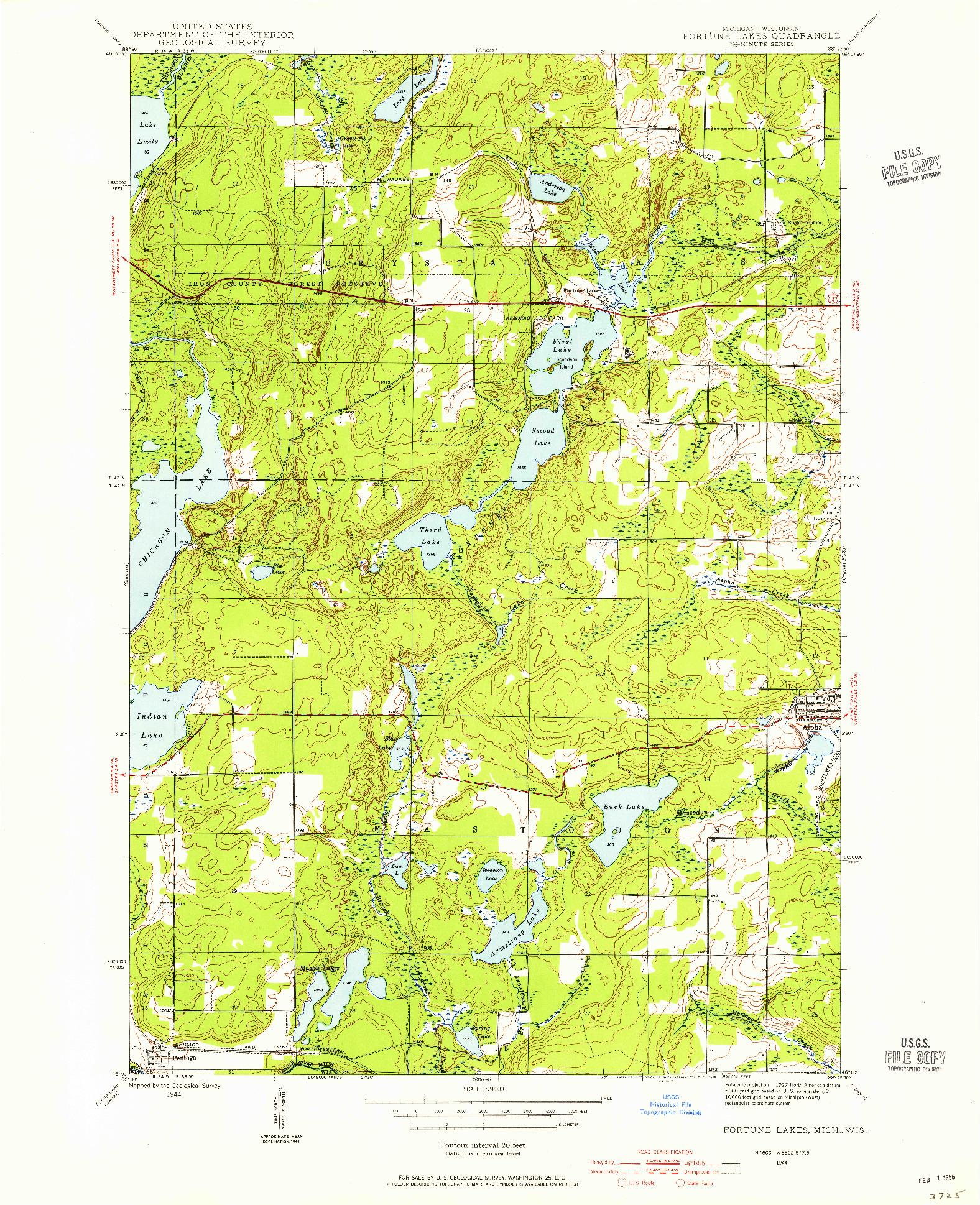 USGS 1:24000-SCALE QUADRANGLE FOR FORTUNE LAKES, MI 1944