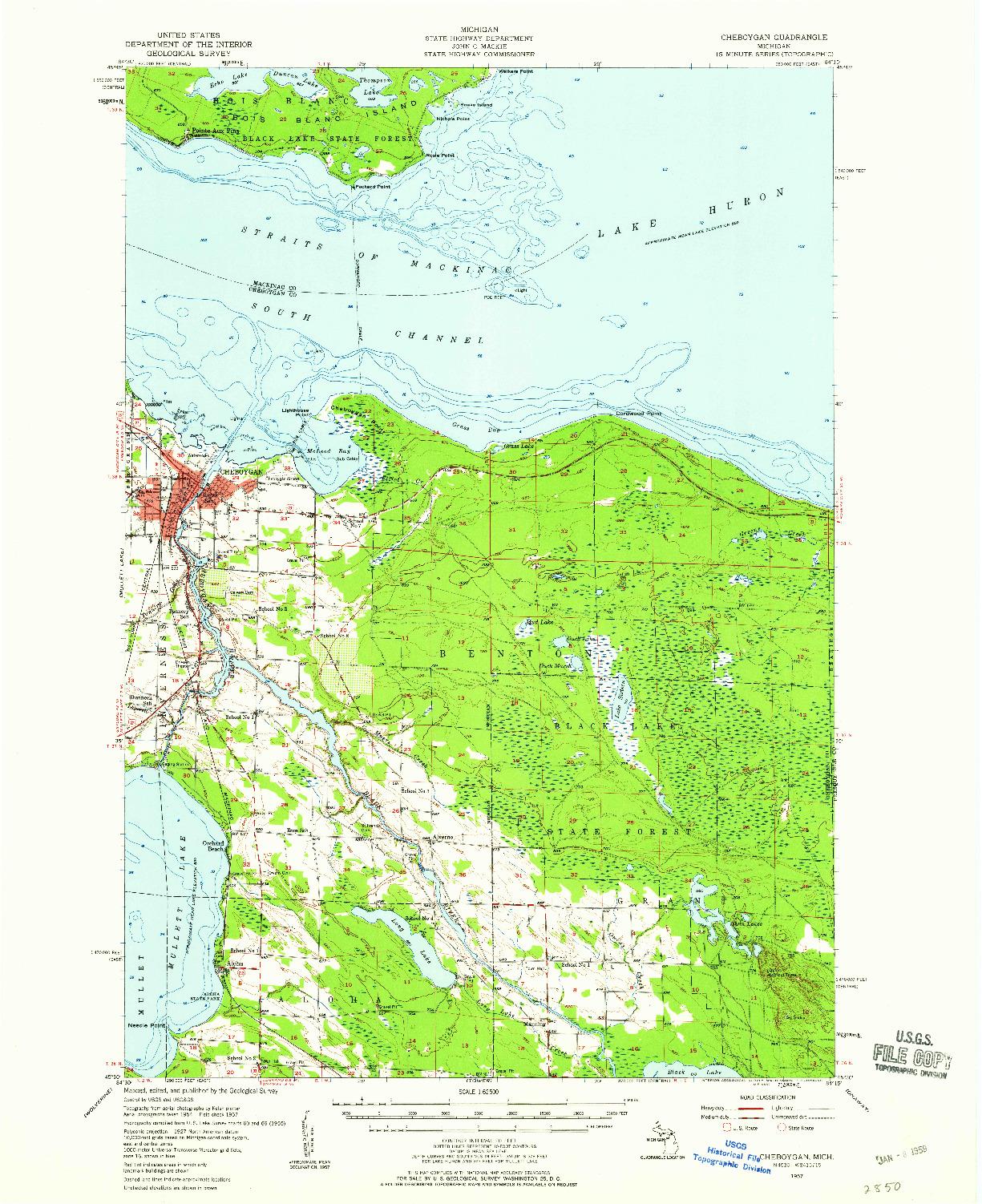 USGS 1:62500-SCALE QUADRANGLE FOR CHEBOYGAN, MI 1957