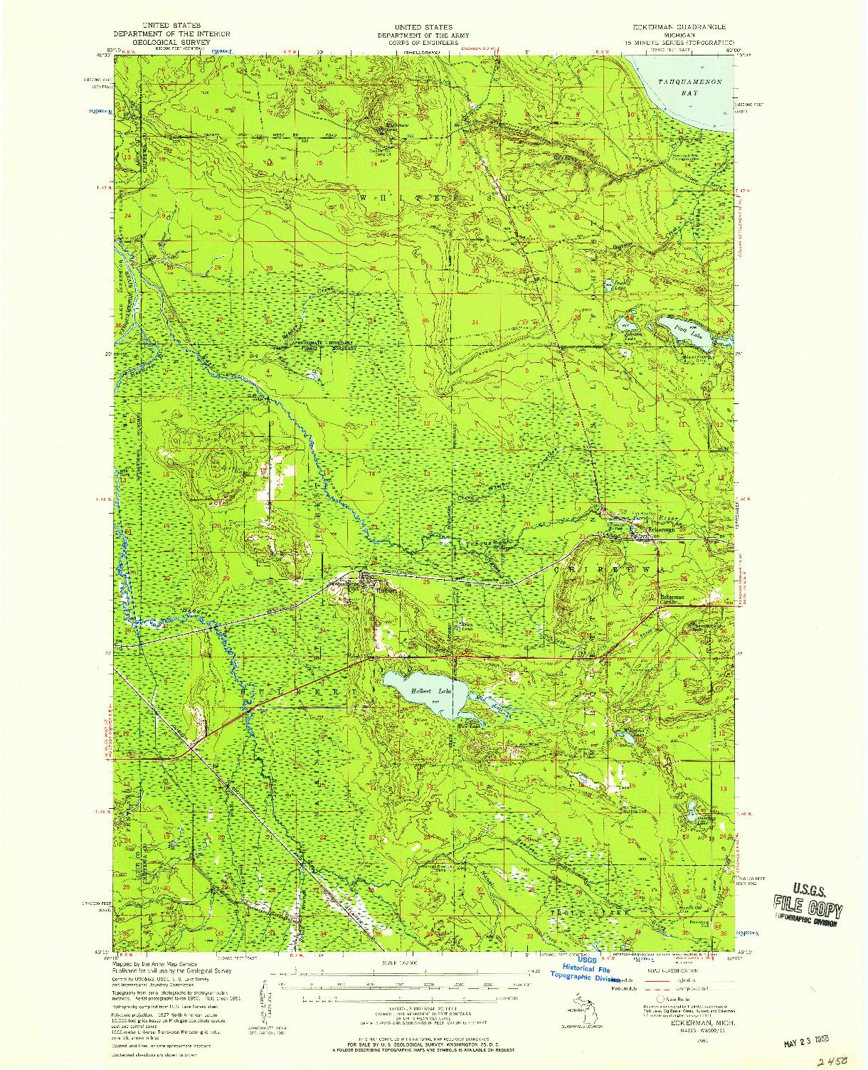 USGS 1:62500-SCALE QUADRANGLE FOR ECKERMAN, MI 1951