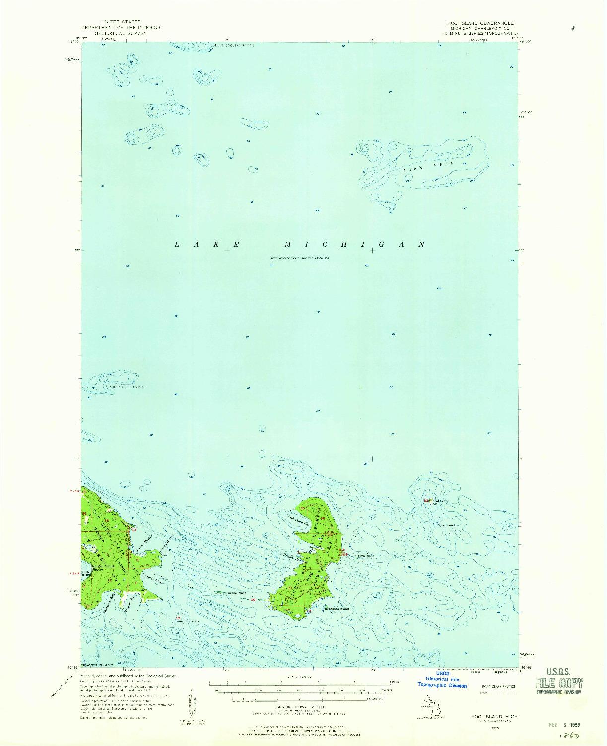 USGS 1:62500-SCALE QUADRANGLE FOR HOG ISLAND, MI 1955