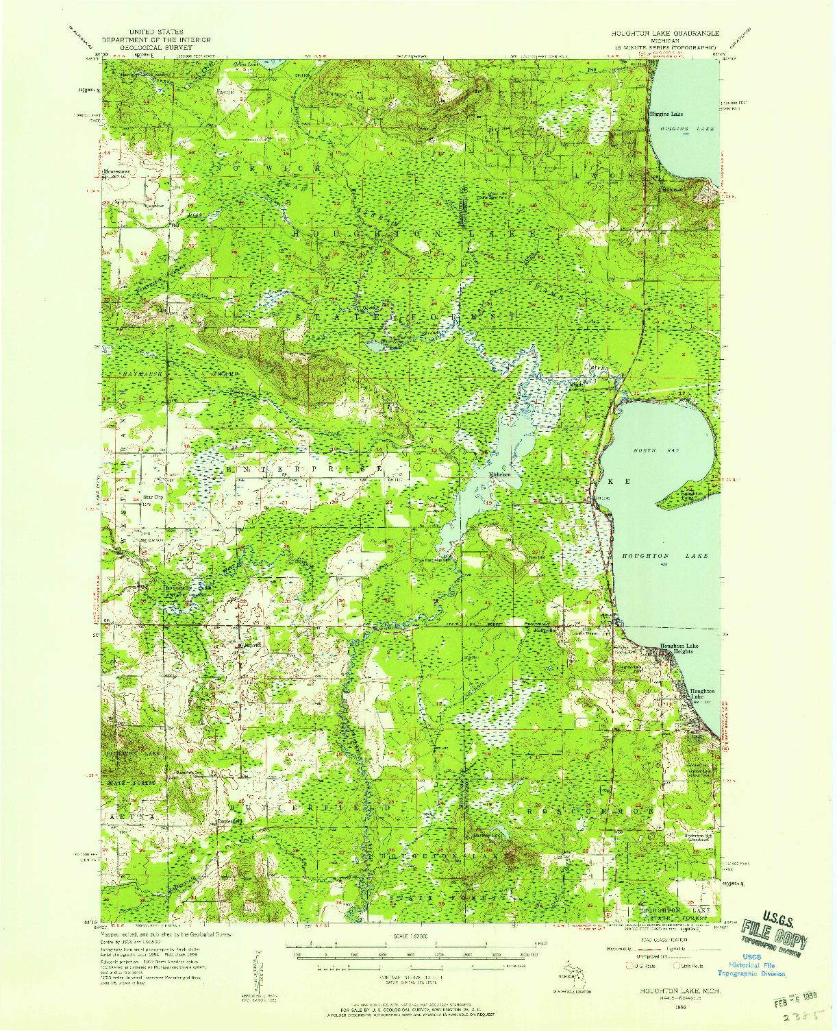 USGS 1:62500-SCALE QUADRANGLE FOR HOUGHTON LAKE, MI 1956