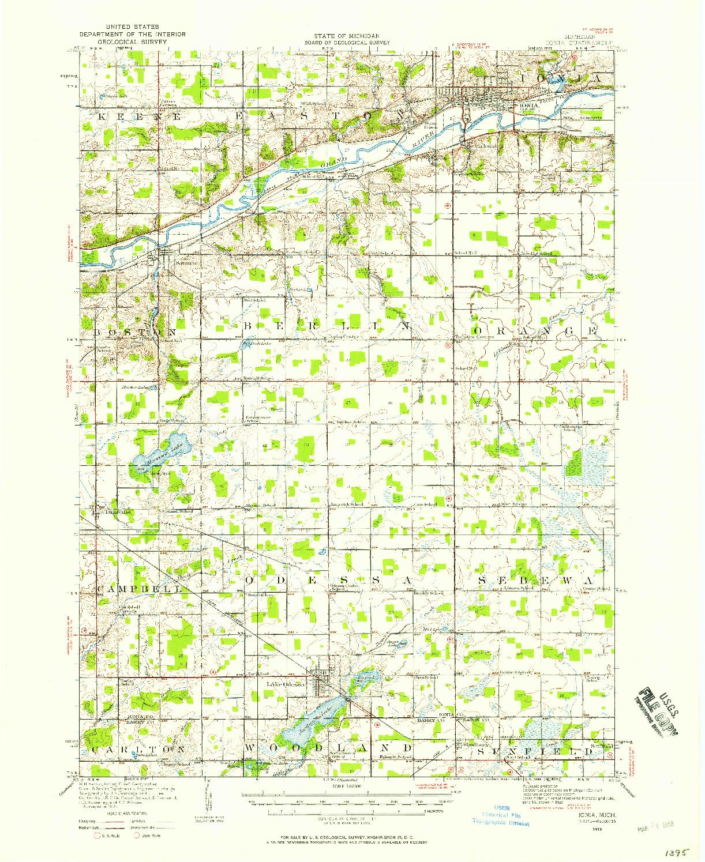 USGS 1:62500-SCALE QUADRANGLE FOR IONIA, MI 1916