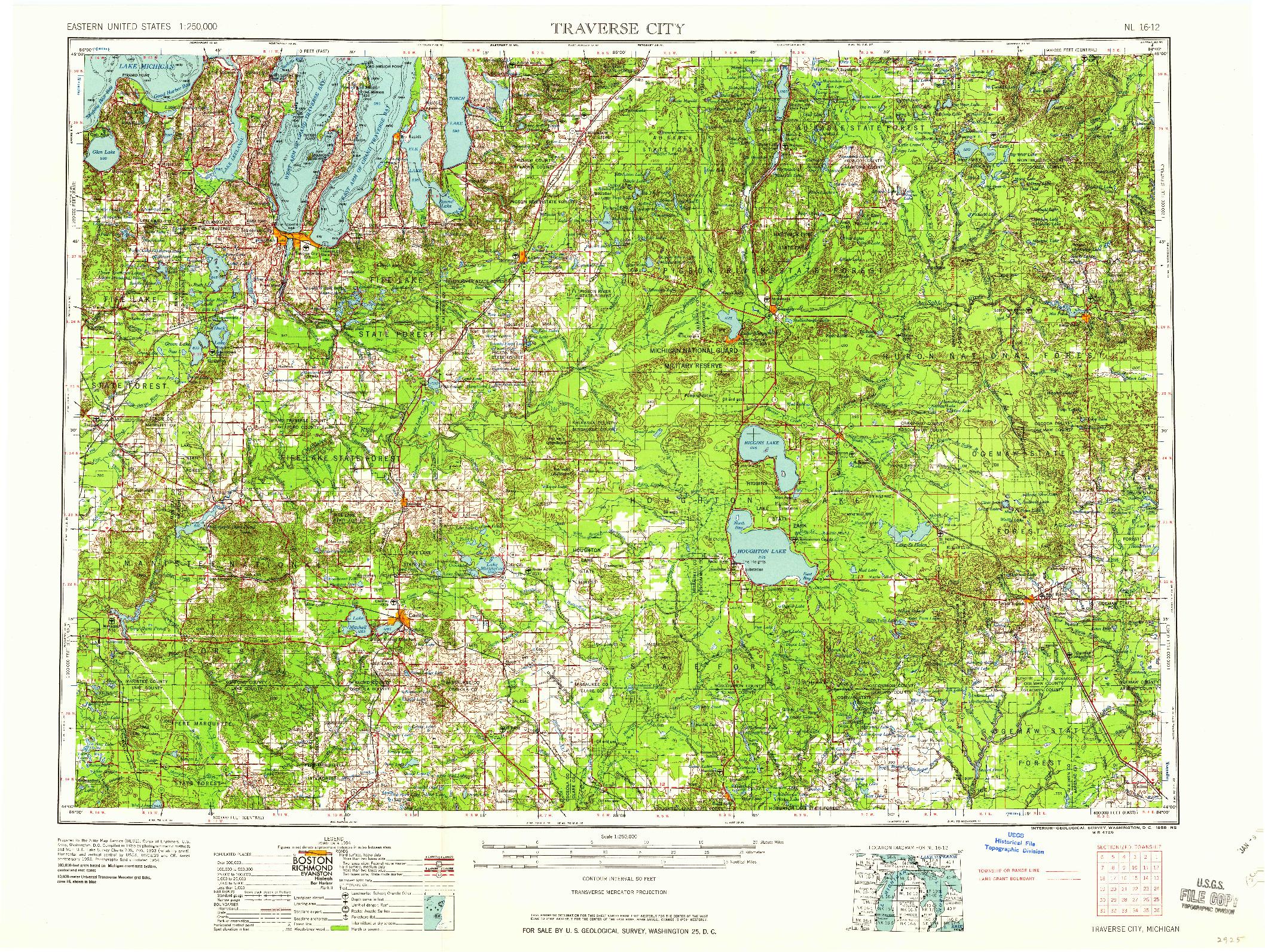 USGS 1:250000-SCALE QUADRANGLE FOR TRAVERSE CITY, MI 1958