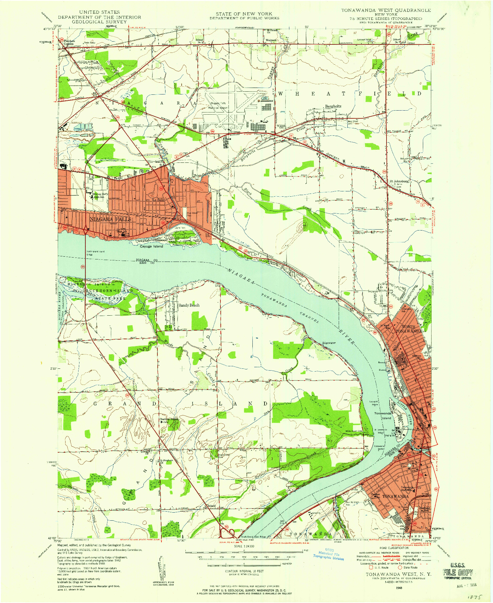 USGS 1:24000-SCALE QUADRANGLE FOR TONAWANDA WEST, NY 1948