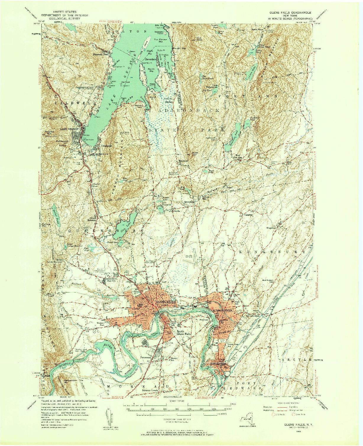 USGS 1:62500-SCALE QUADRANGLE FOR GLENS FALLS, NY 1955