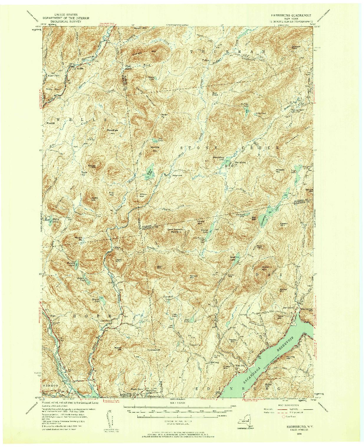 USGS 1:62500-SCALE QUADRANGLE FOR HARRISBURG, NY 1954