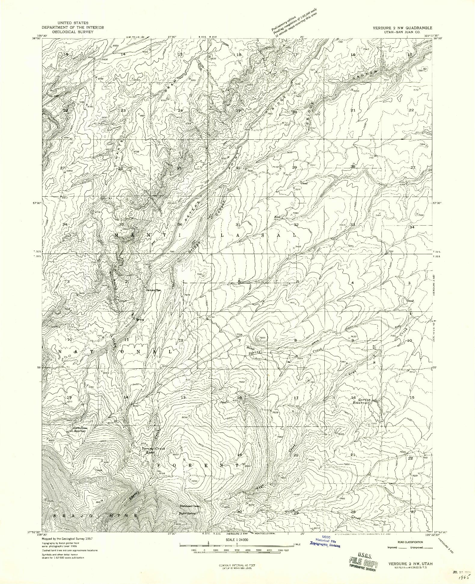 USGS 1:24000-SCALE QUADRANGLE FOR VERDURE 2 NW, UT 1958