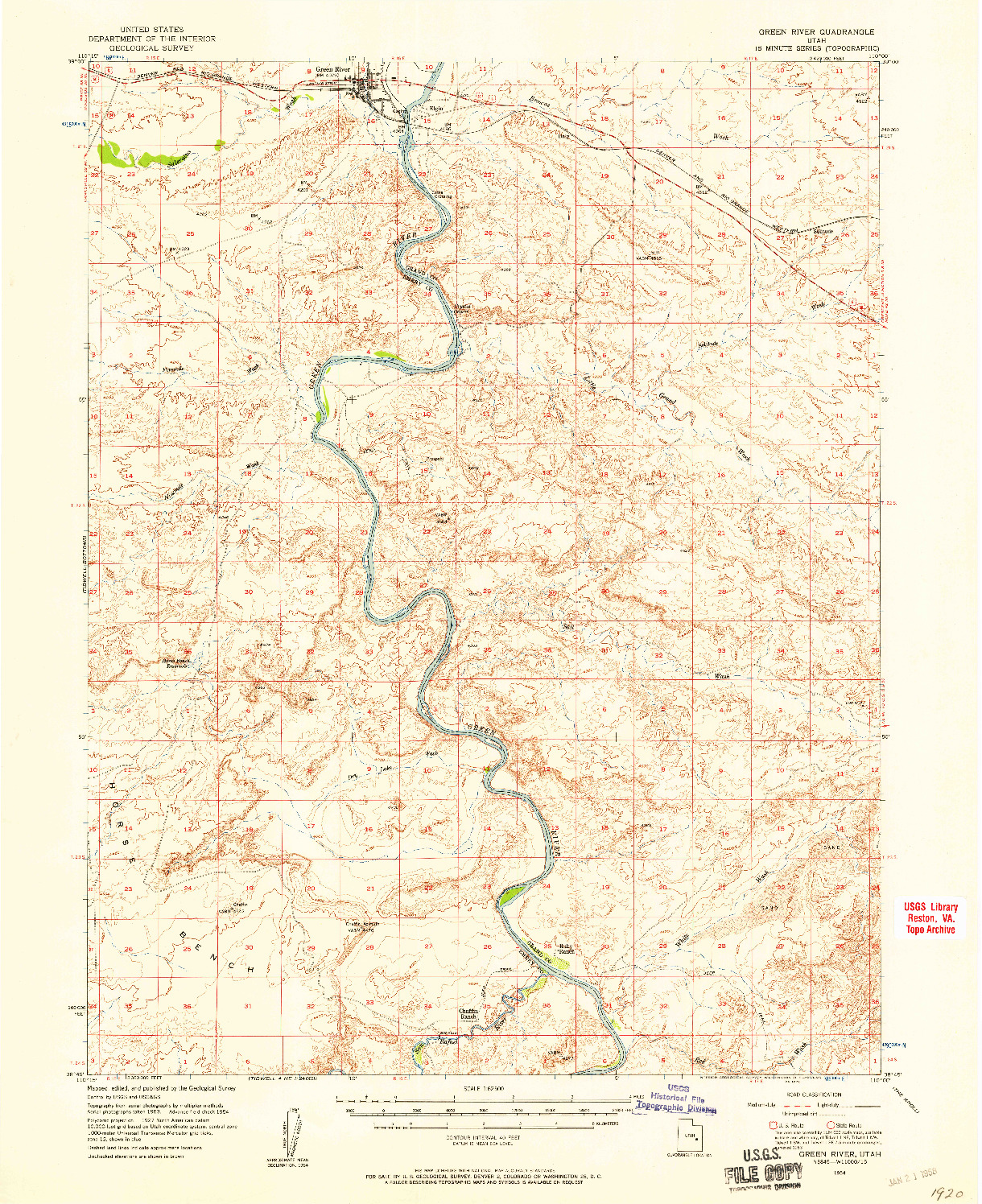 USGS 1:62500-SCALE QUADRANGLE FOR GREEN RIVER, UT 1954
