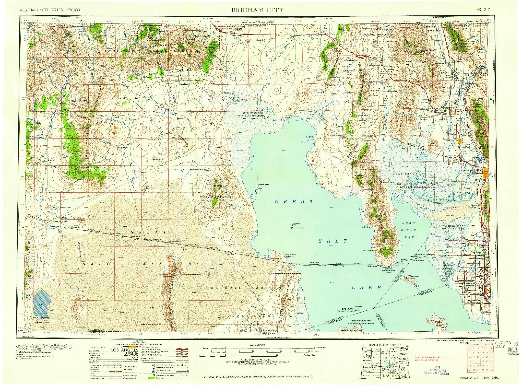 USGS 1:250000-SCALE QUADRANGLE FOR BRIGHAM CITY, UT 1958