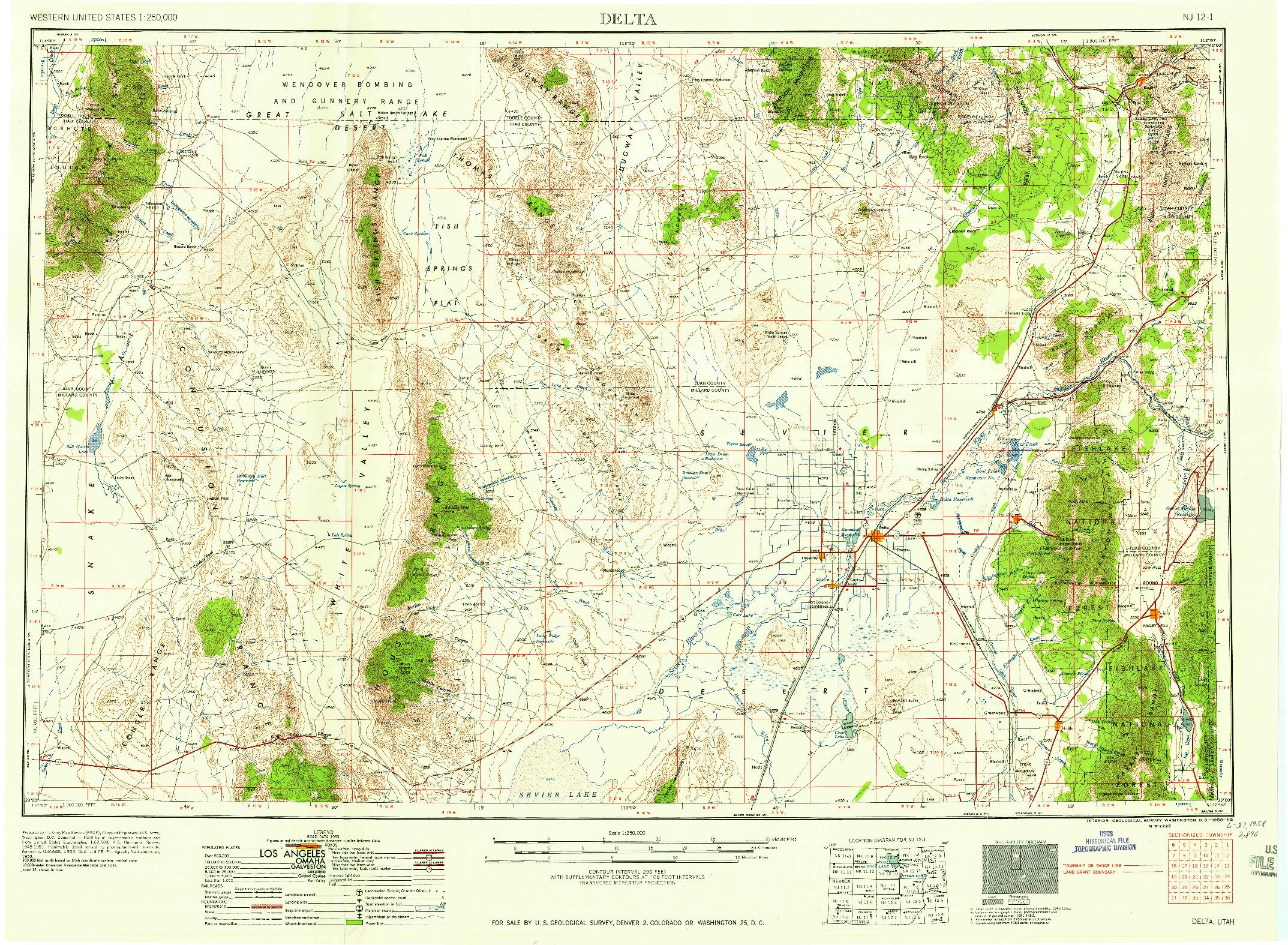 USGS 1:250000-SCALE QUADRANGLE FOR DELTA, UT 1958