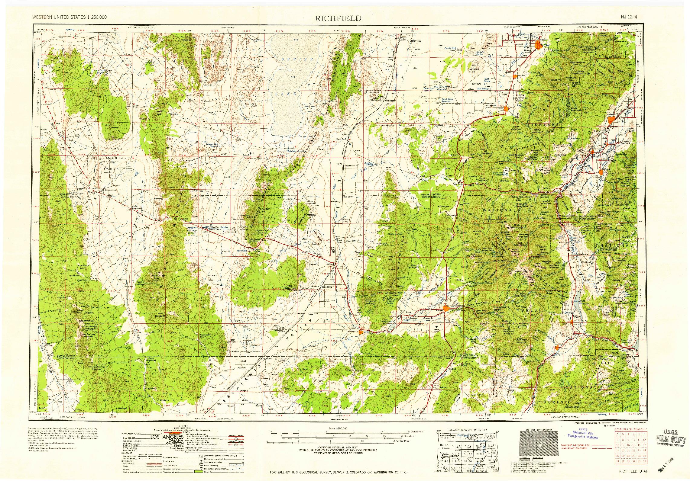 USGS 1:250000-SCALE QUADRANGLE FOR RICHFIELD, UT 1958