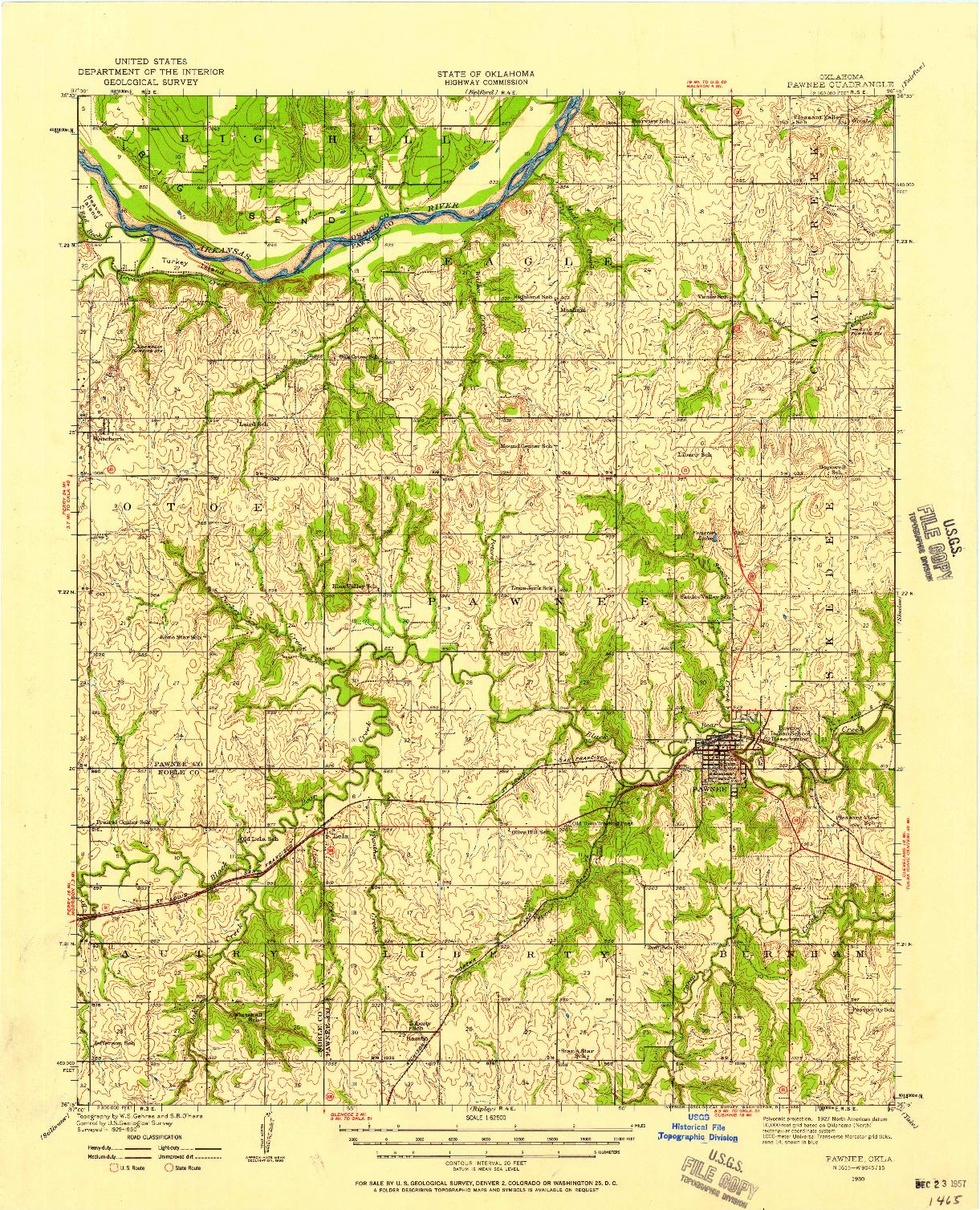 USGS 1:62500-SCALE QUADRANGLE FOR PAWNEE, OK 1930