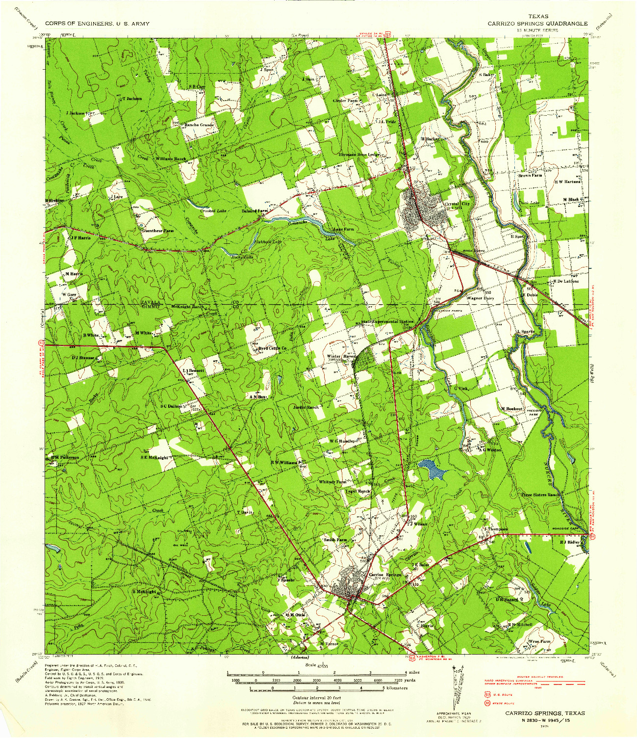 USGS 1:62500-SCALE QUADRANGLE FOR CARRIZO SPRINGS, TX 1939