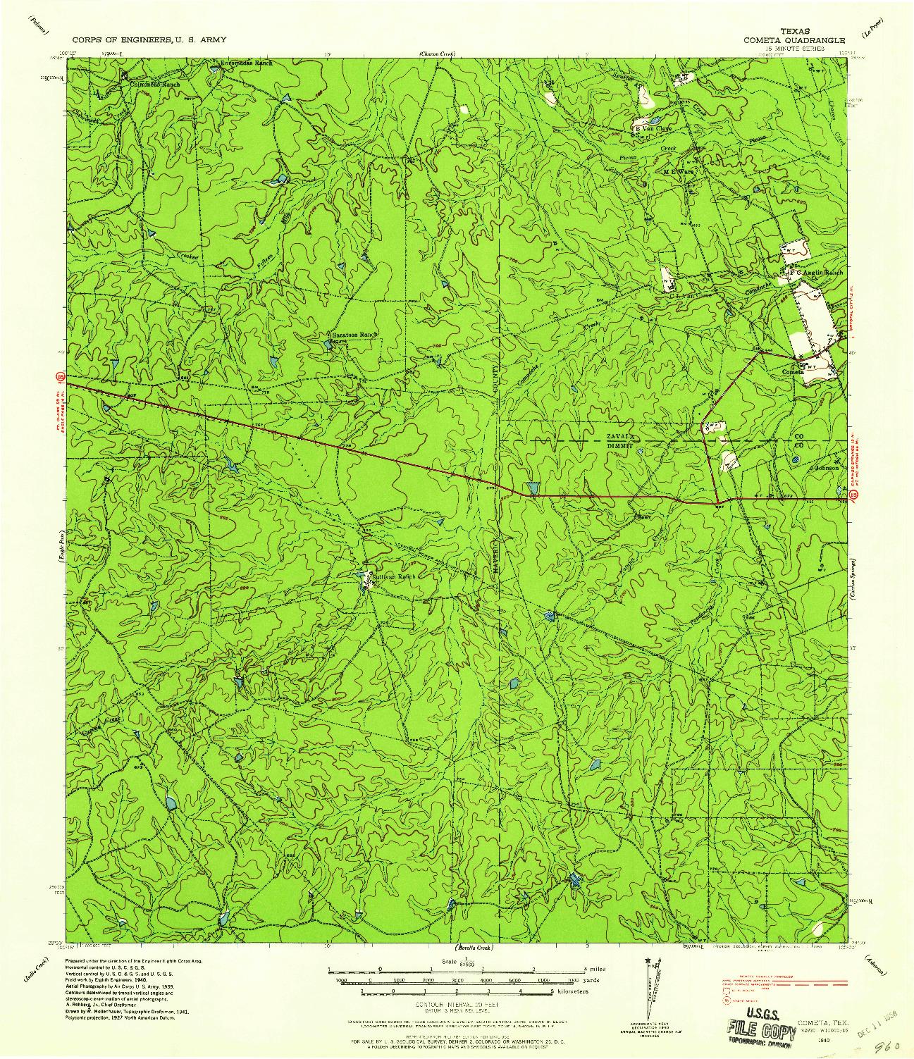 USGS 1:62500-SCALE QUADRANGLE FOR COMETA, TX 1940