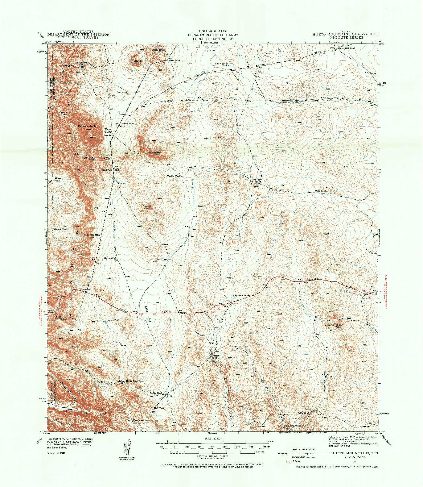 USGS 1:62500-SCALE QUADRANGLE FOR HEUCO MOUNTAINS, TX 1941