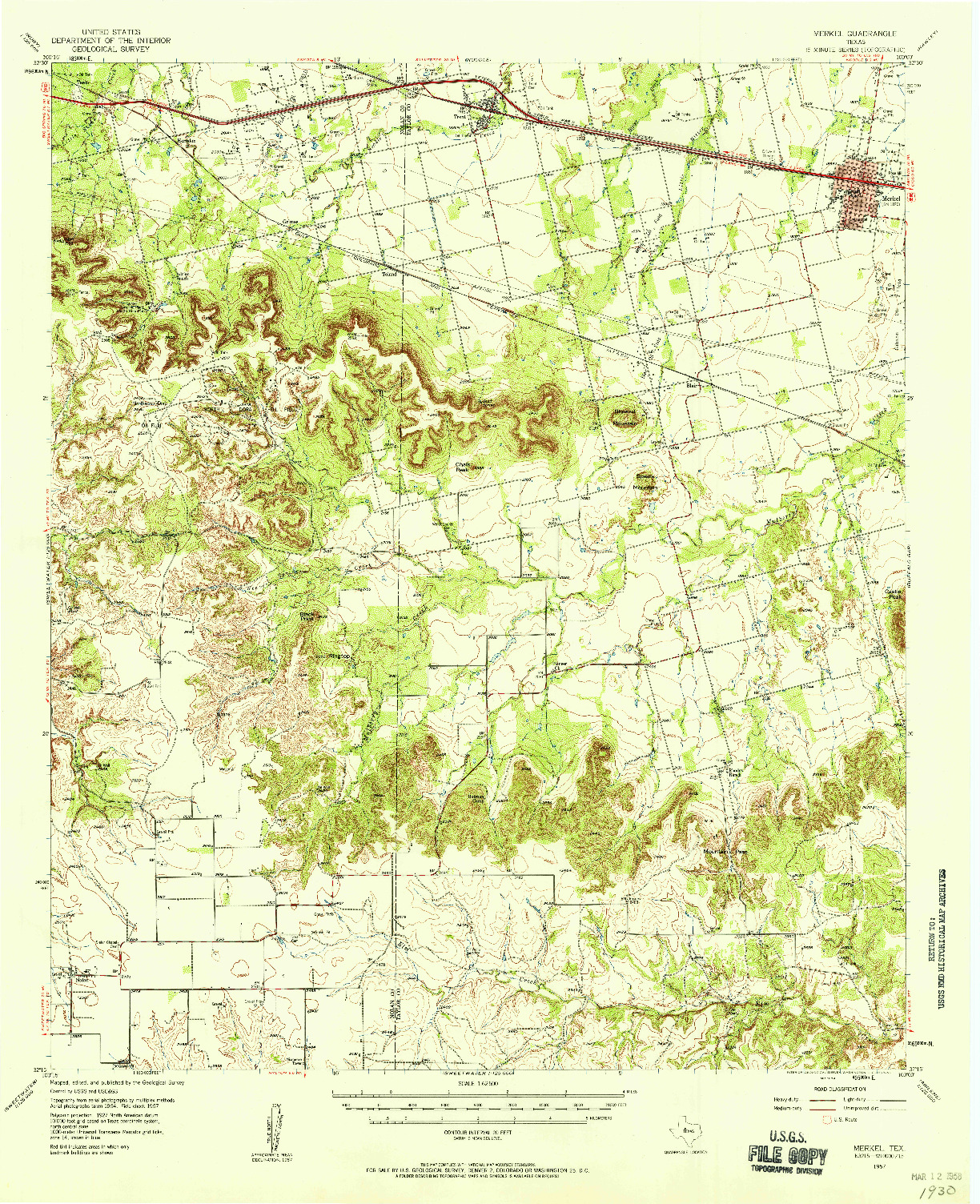 USGS 1:62500-SCALE QUADRANGLE FOR MERKEL, TX 1957