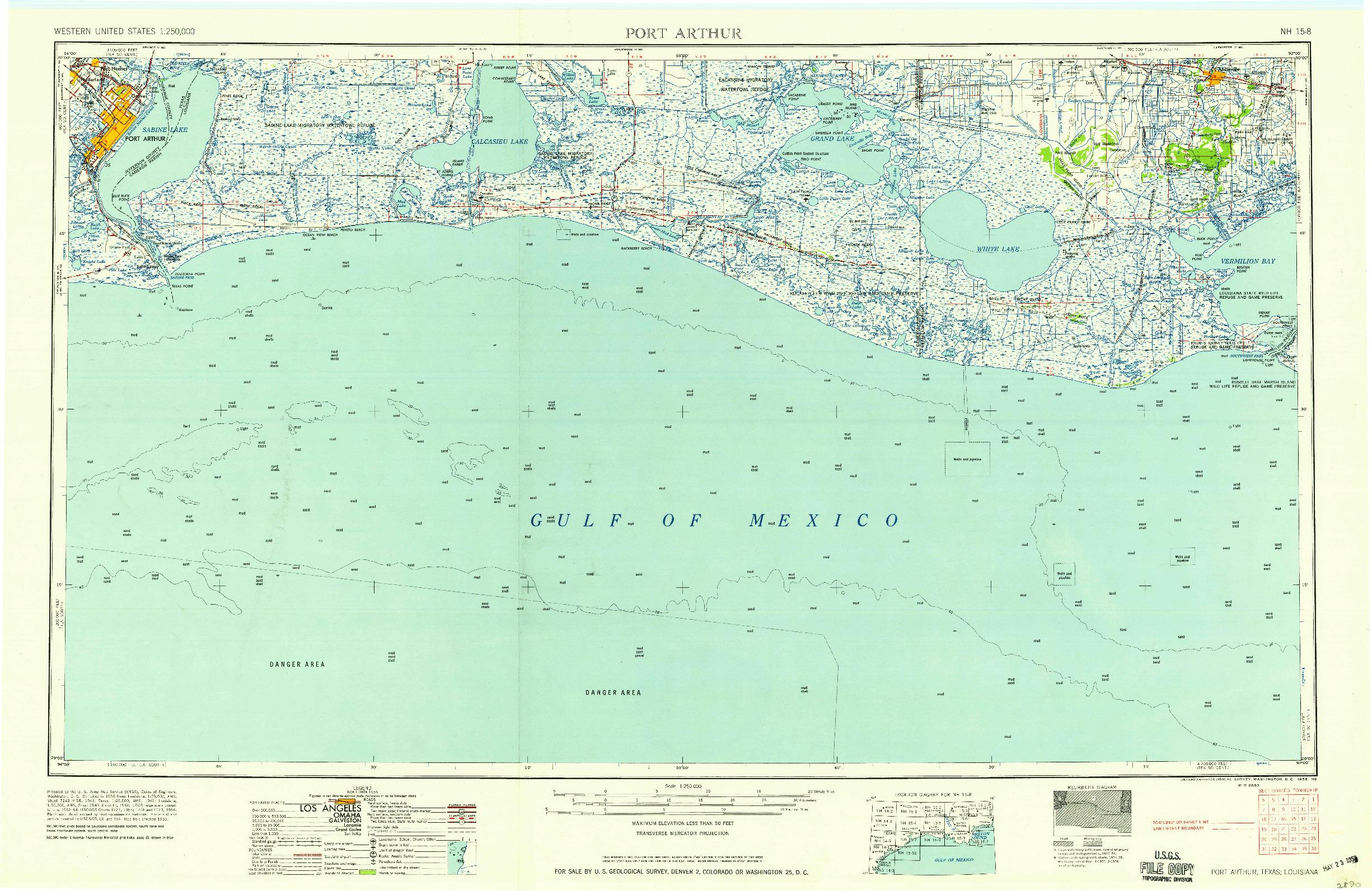 USGS 1:250000-SCALE QUADRANGLE FOR PORT ARTHUR, TX 1958