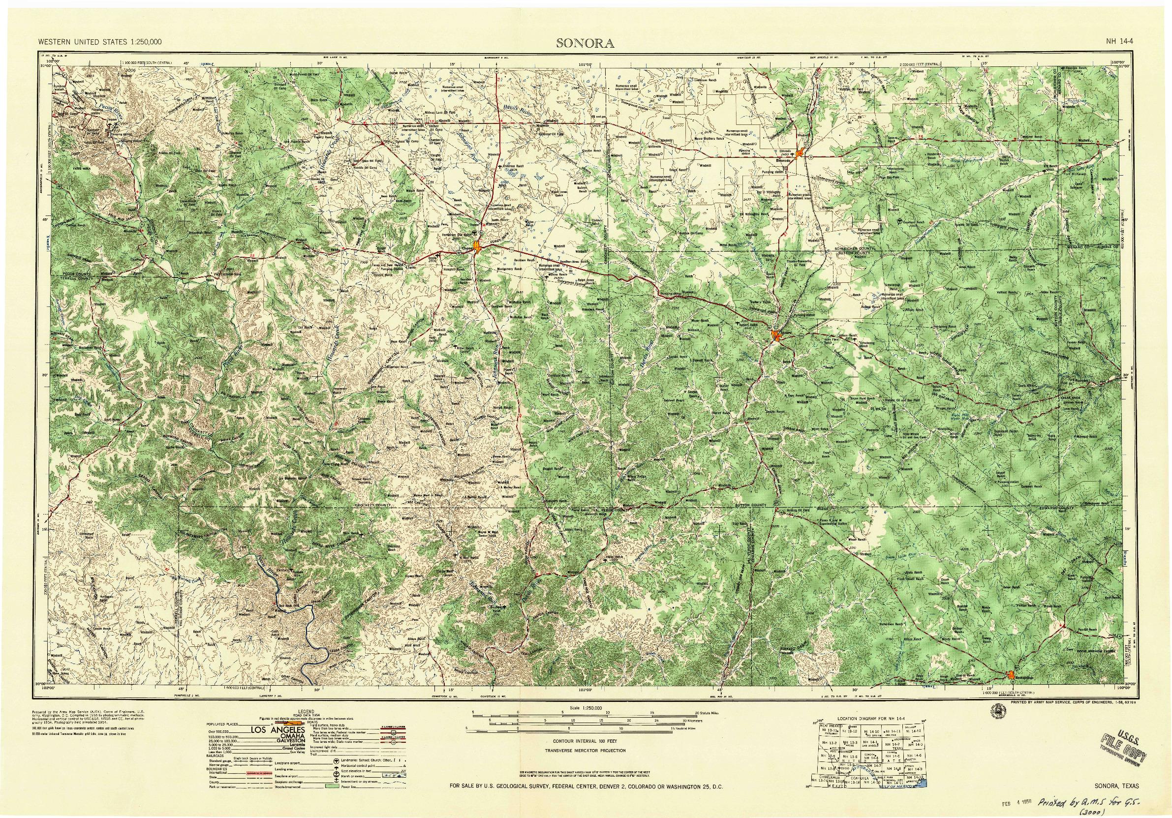 USGS 1:250000-SCALE QUADRANGLE FOR SONORA, TX 1958