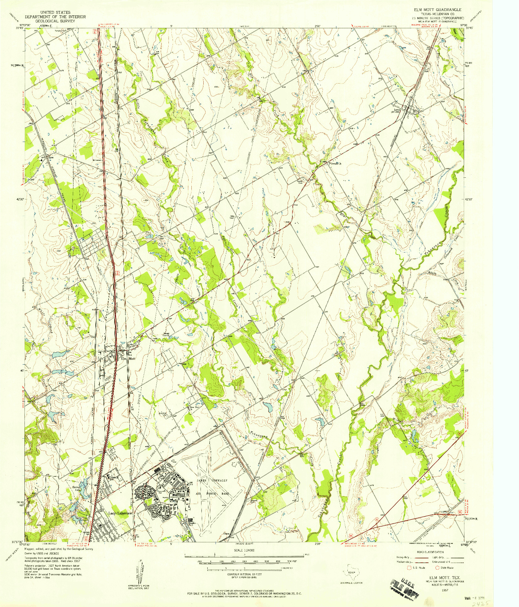 USGS 1:24000-SCALE QUADRANGLE FOR ELM MOTT, TX 1957