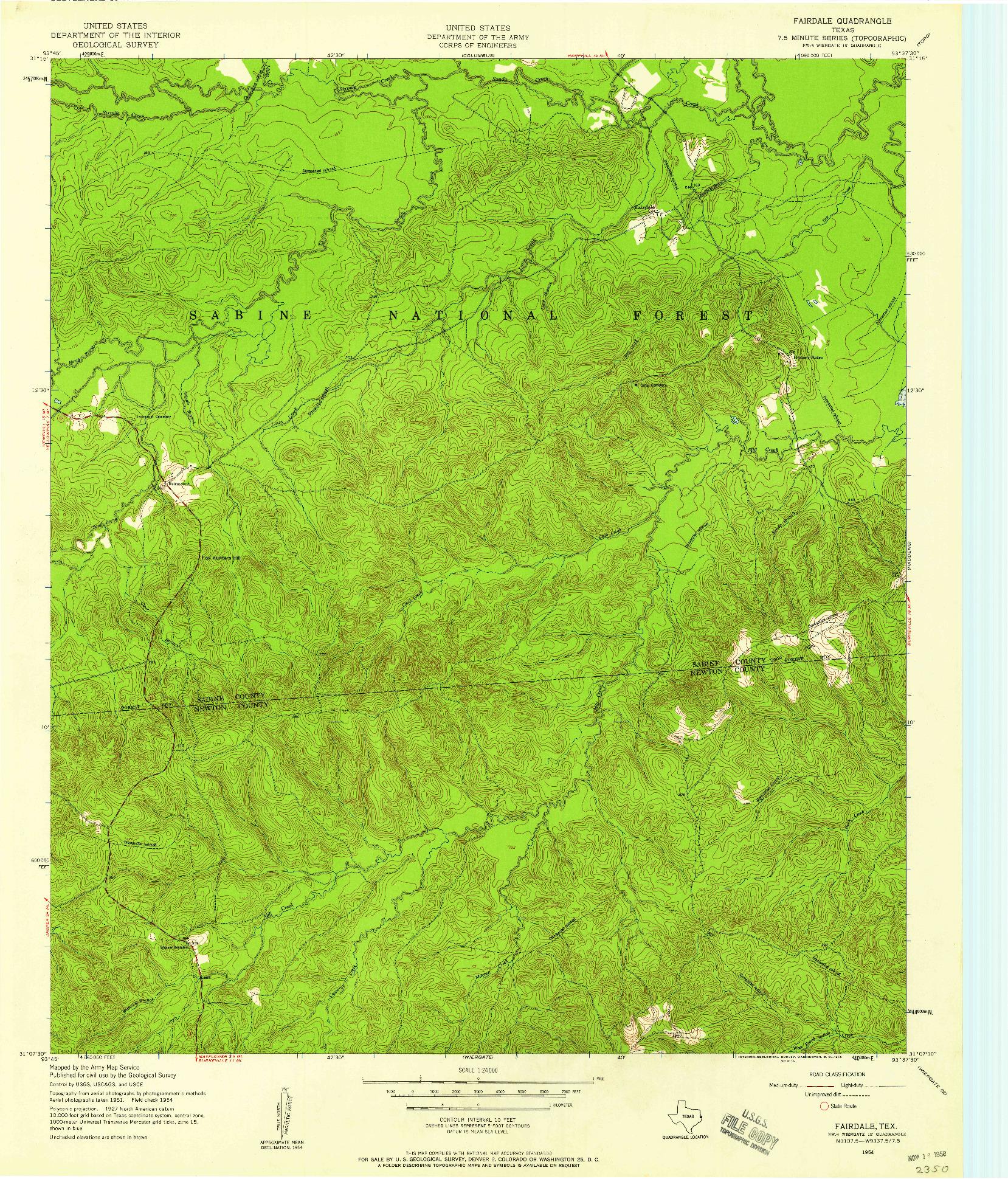 USGS 1:24000-SCALE QUADRANGLE FOR FAIRDALE, TX 1954