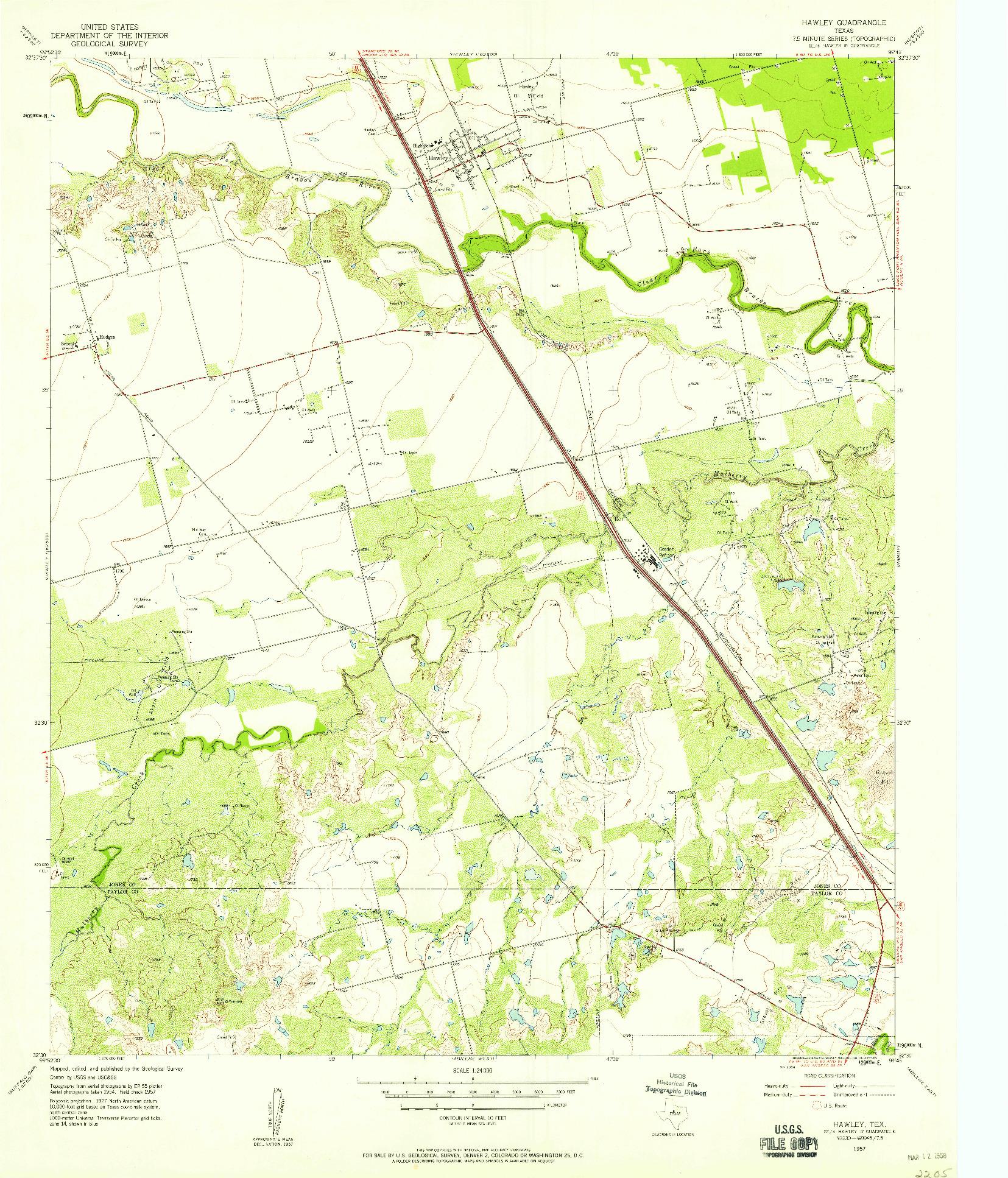 USGS 1:24000-SCALE QUADRANGLE FOR HAWLEY, TX 1957