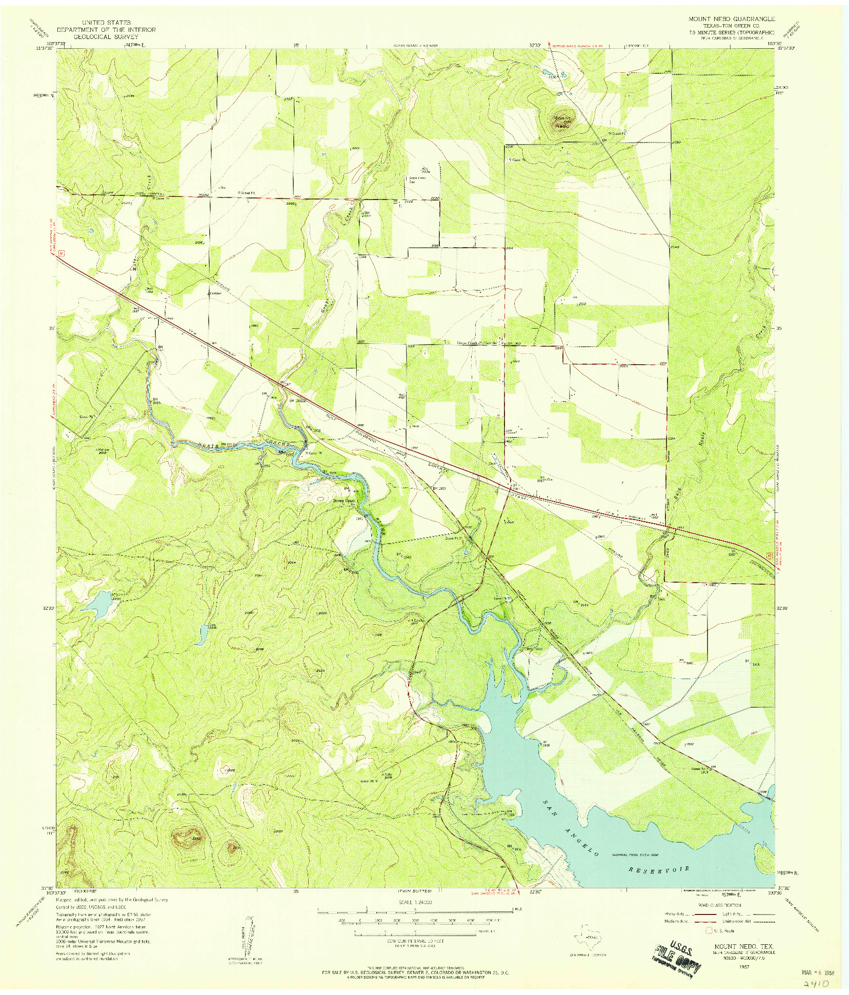 USGS 1:24000-SCALE QUADRANGLE FOR MOUNT NEBO, TX 1957