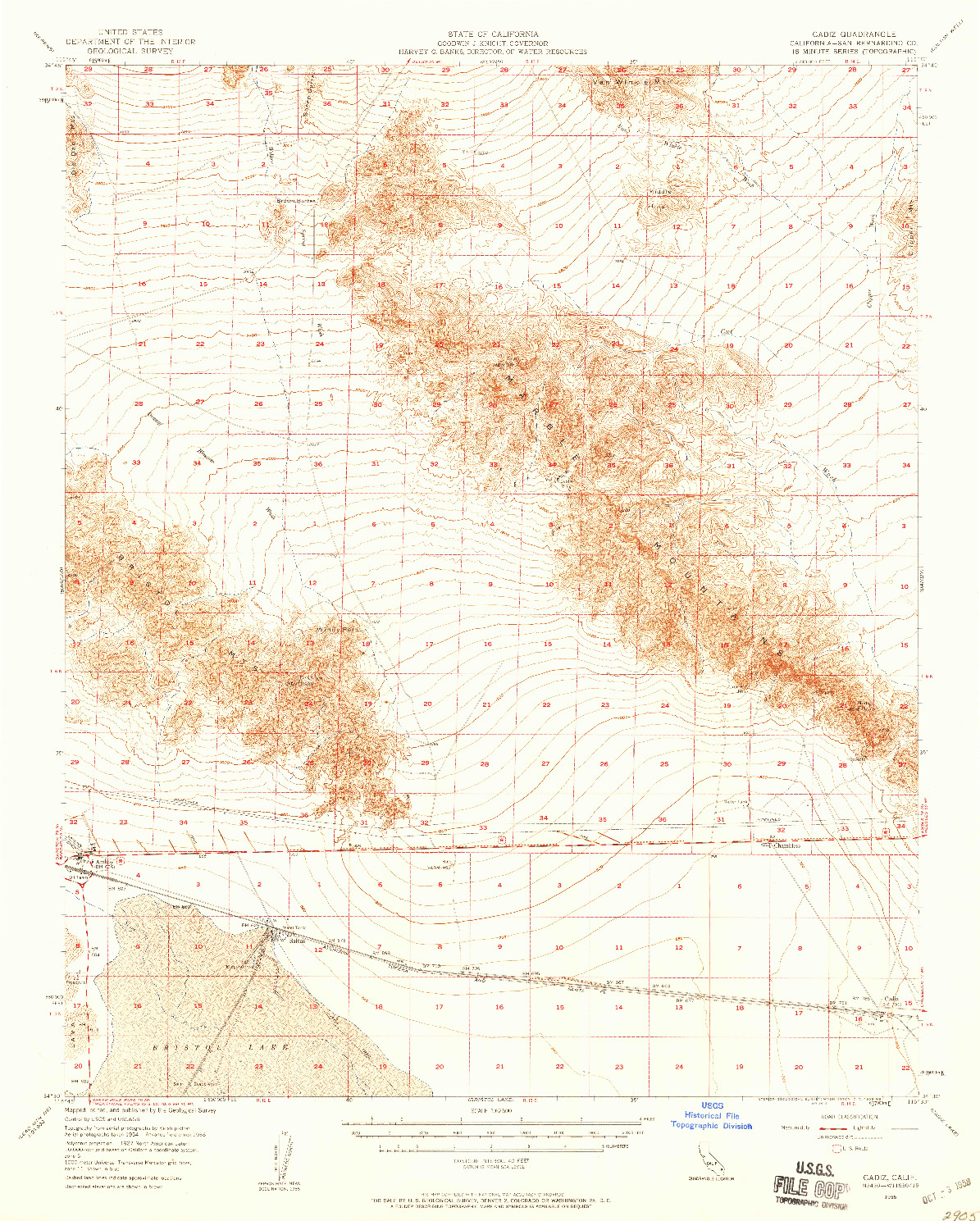 USGS 1:62500-SCALE QUADRANGLE FOR CADIZ, CA 1956