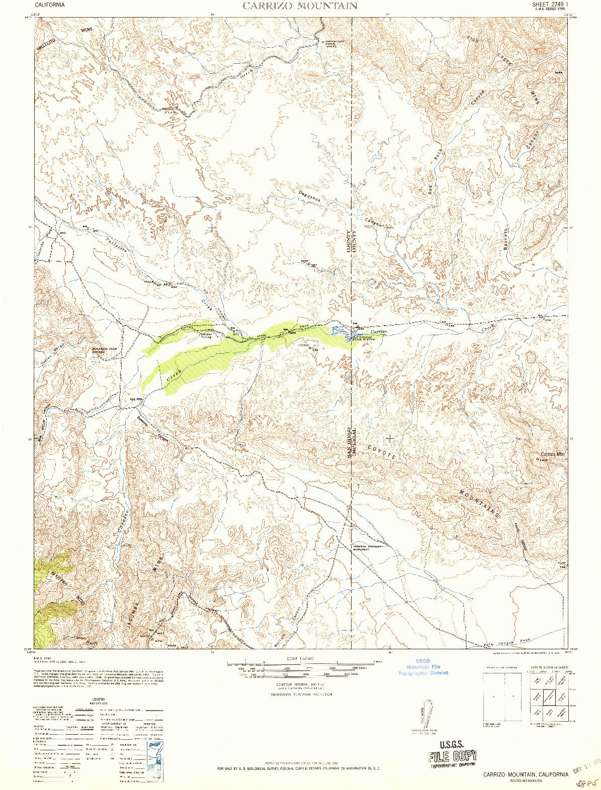 USGS 1:62500-SCALE QUADRANGLE FOR CARRIZO MOUNTAIN, CA 1942