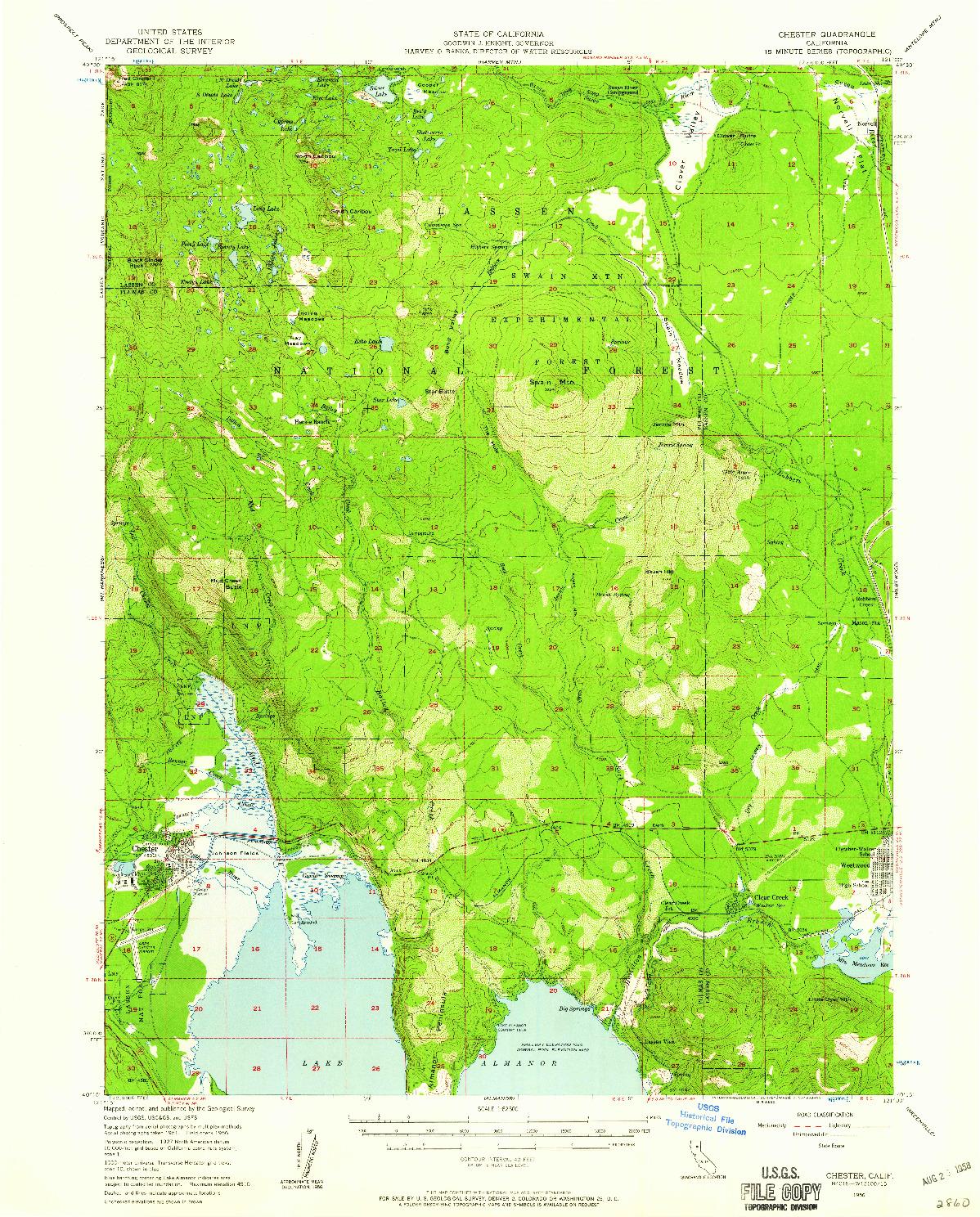 USGS 1:62500-SCALE QUADRANGLE FOR CHESTER, CA 1956