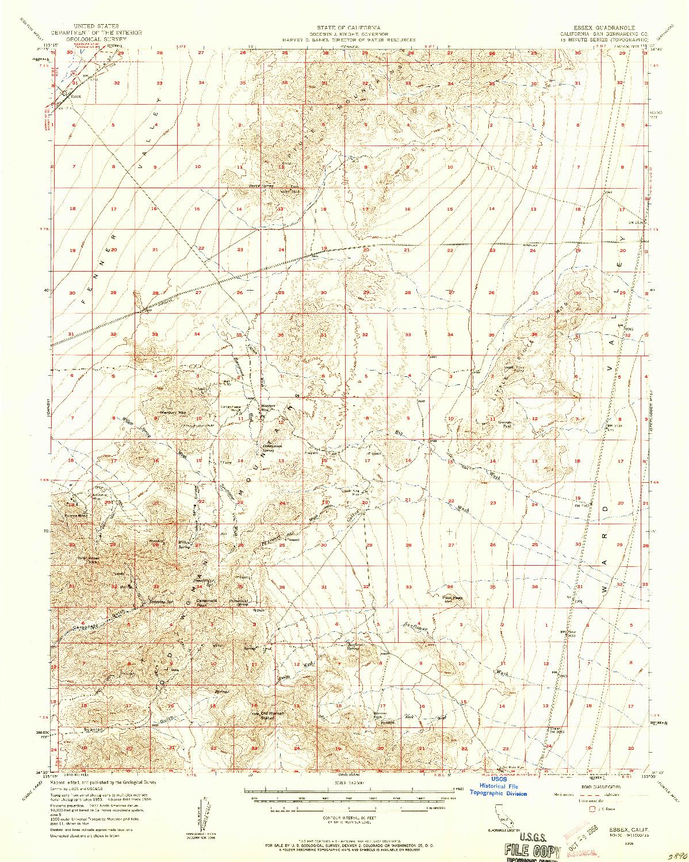 USGS 1:62500-SCALE QUADRANGLE FOR ESSEX, CA 1956