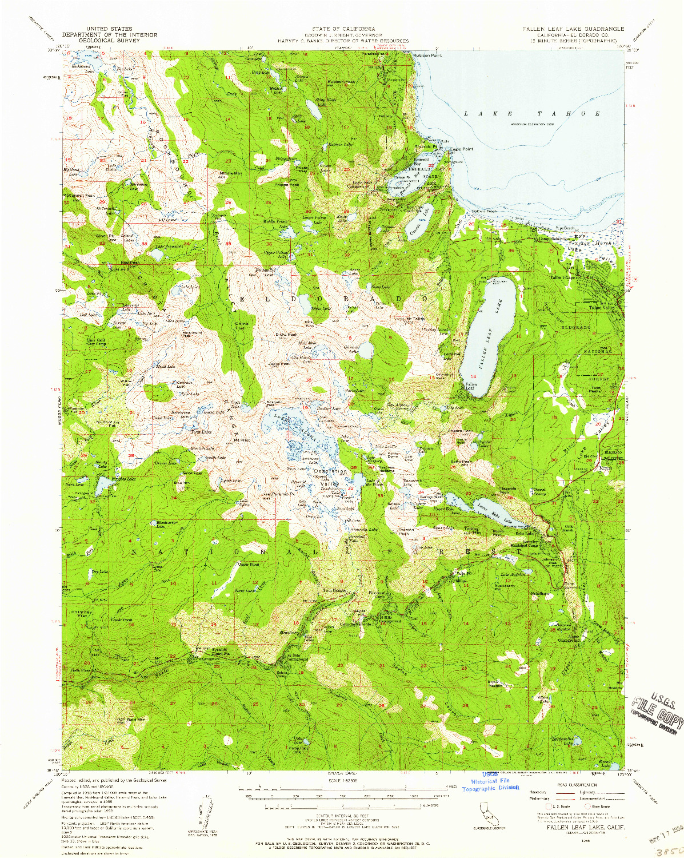 USGS 1:62500-SCALE QUADRANGLE FOR FALLEN LEAF LAKE, CA 1955