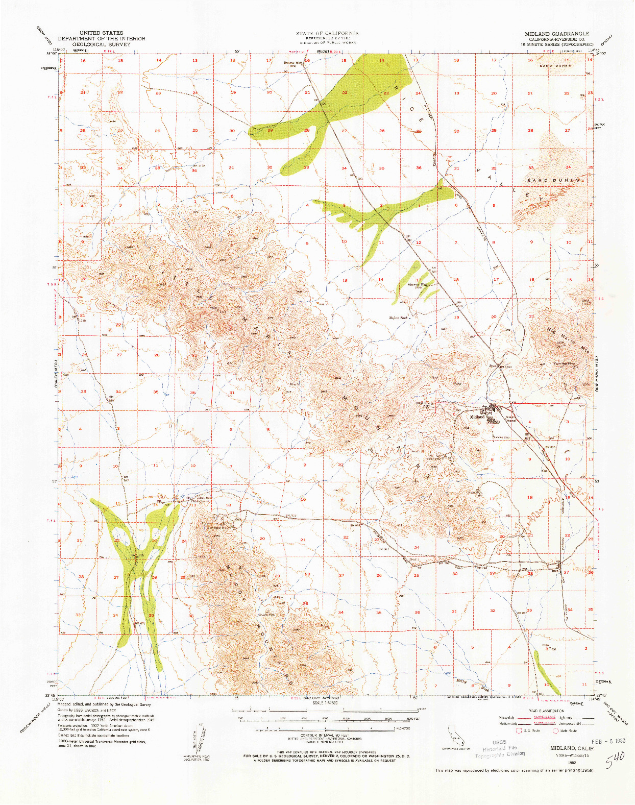 USGS 1:62500-SCALE QUADRANGLE FOR MIDLAND, CA 1952