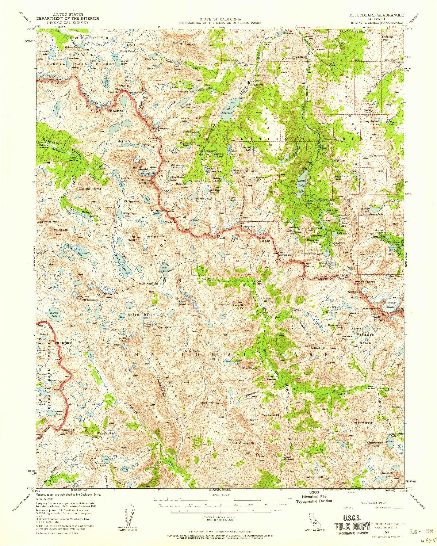 USGS 1:62500-SCALE QUADRANGLE FOR MT. GODDARD, CA 1948
