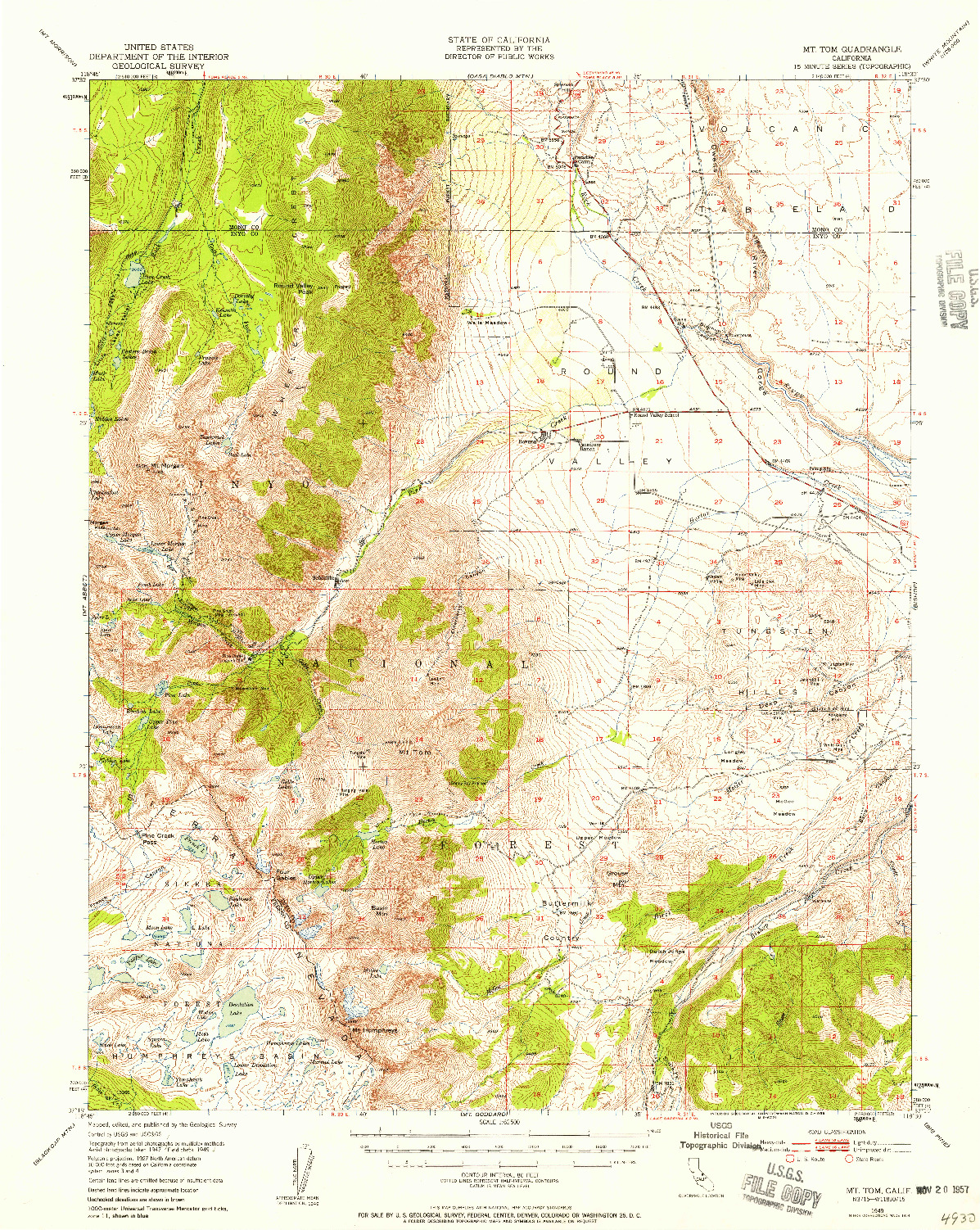 USGS 1:62500-SCALE QUADRANGLE FOR MT. TOM, CA 1949
